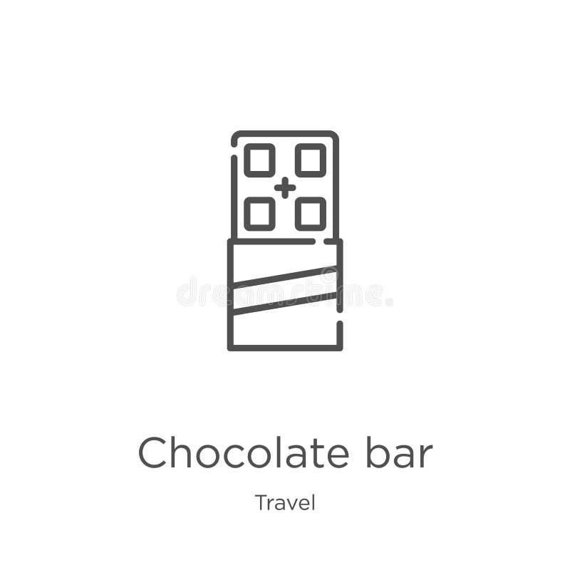 vektor för symbol för chokladstång från loppsamling Tunn linje illustration för vektor för symbol för översikt för chokladstång ? royaltyfri illustrationer