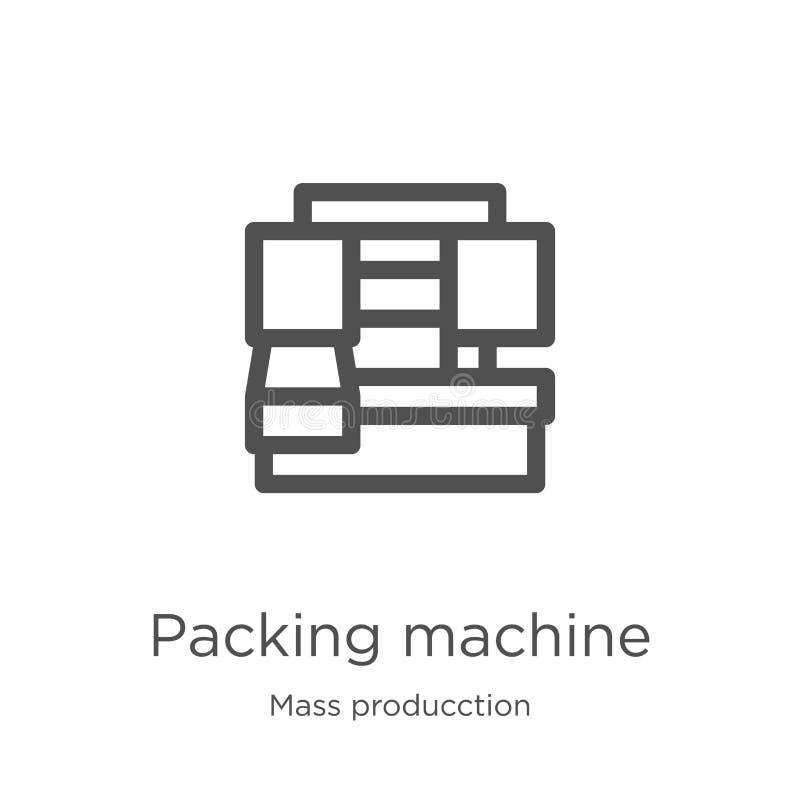 vektor för symbol för emballagemaskin från massproducctionsamling Tunn linje illustration för vektor för symbol för översikt för  royaltyfri illustrationer