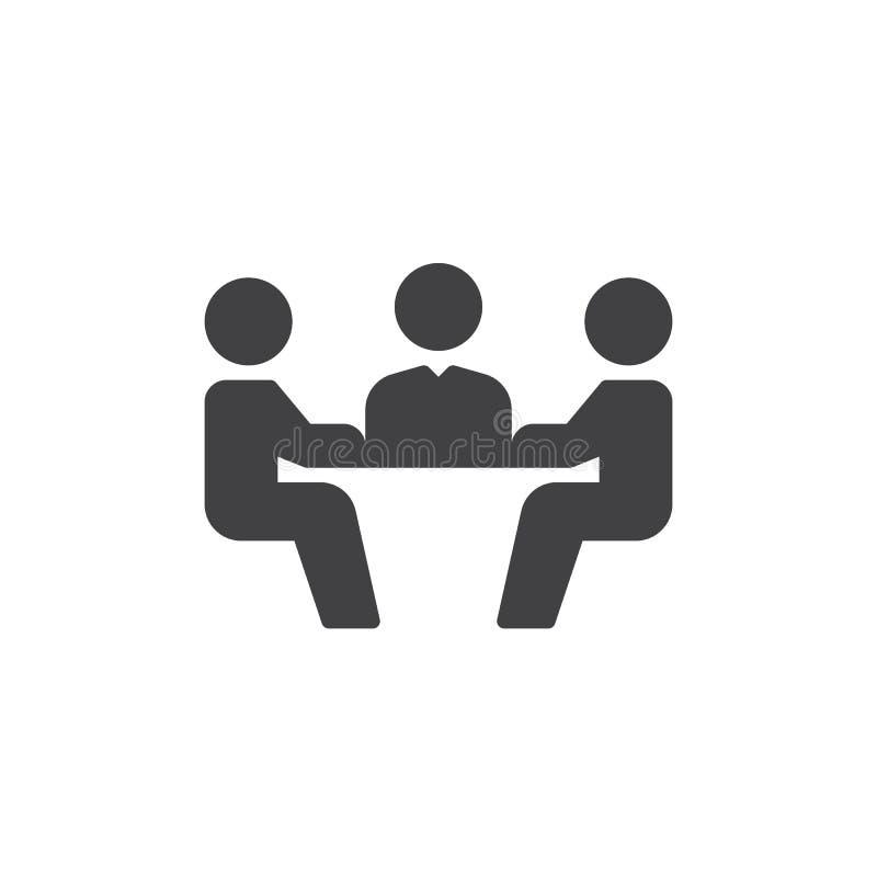 Vektor för symbol för affärsmöte, fyllt plant tecken, fast pictogram som isoleras på vit Symbol logoillustration vektor illustrationer