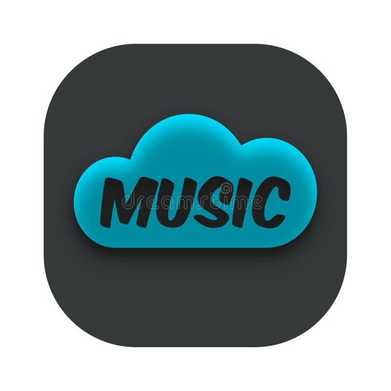 Vektor för symbol för App för musikmolnlagring stock illustrationer