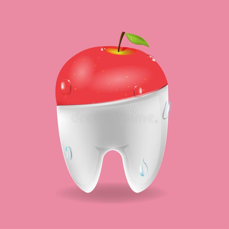 Vektor för symbol för Apple tand blandad tand- vektor illustrationer