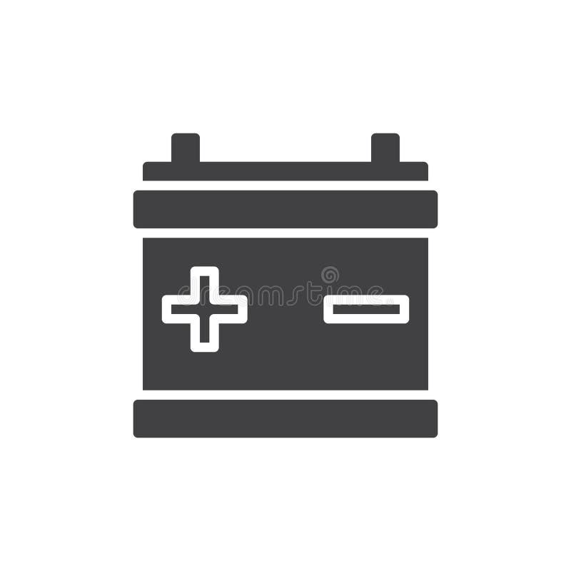 Vektor för symbol för bilbatteri, fyllt plant tecken, fast pictogram som isoleras på vit stock illustrationer