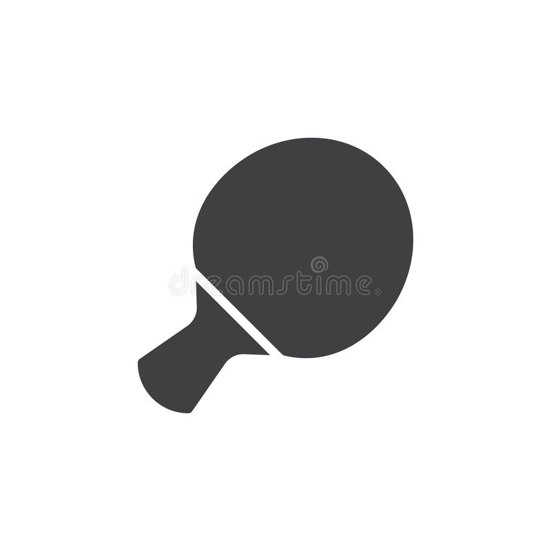 Vektor för symbol för bordtennisracket, fyllt plant tecken, fast pictogram som isoleras på vit vektor illustrationer
