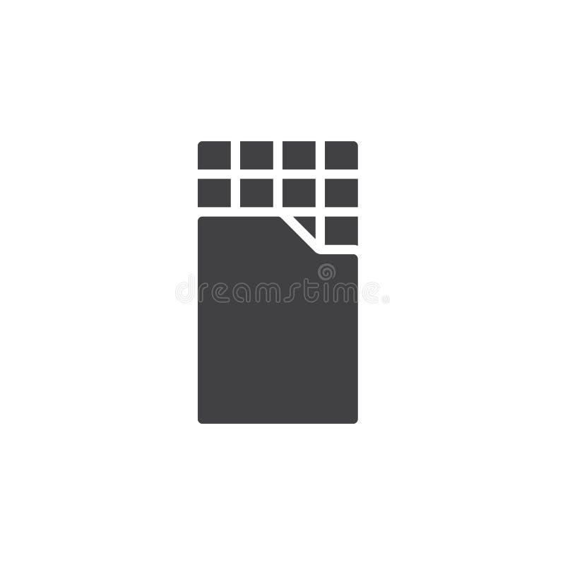 Vektor för symbol för chokladstång, fyllt plant tecken, fast pictogram som isoleras på vit stock illustrationer