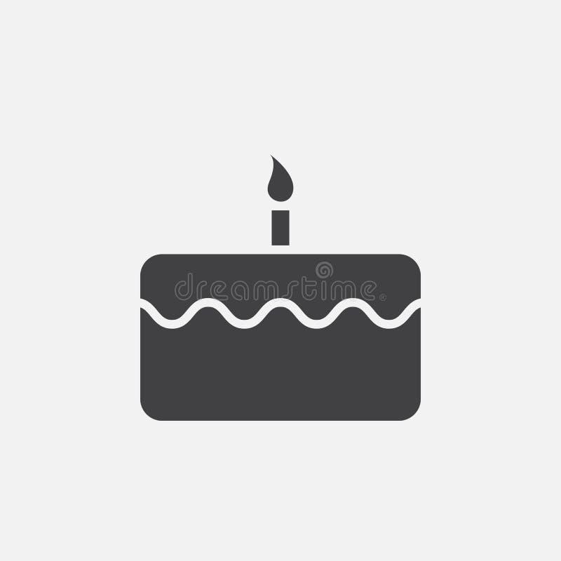 Vektor för symbol för födelsedagkaka, fast logoillustration vektor illustrationer