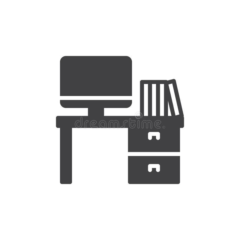 Vektor för symbol för kontorsskrivbord, fyllt plant tecken, fast pictogram som isoleras på vit vektor illustrationer