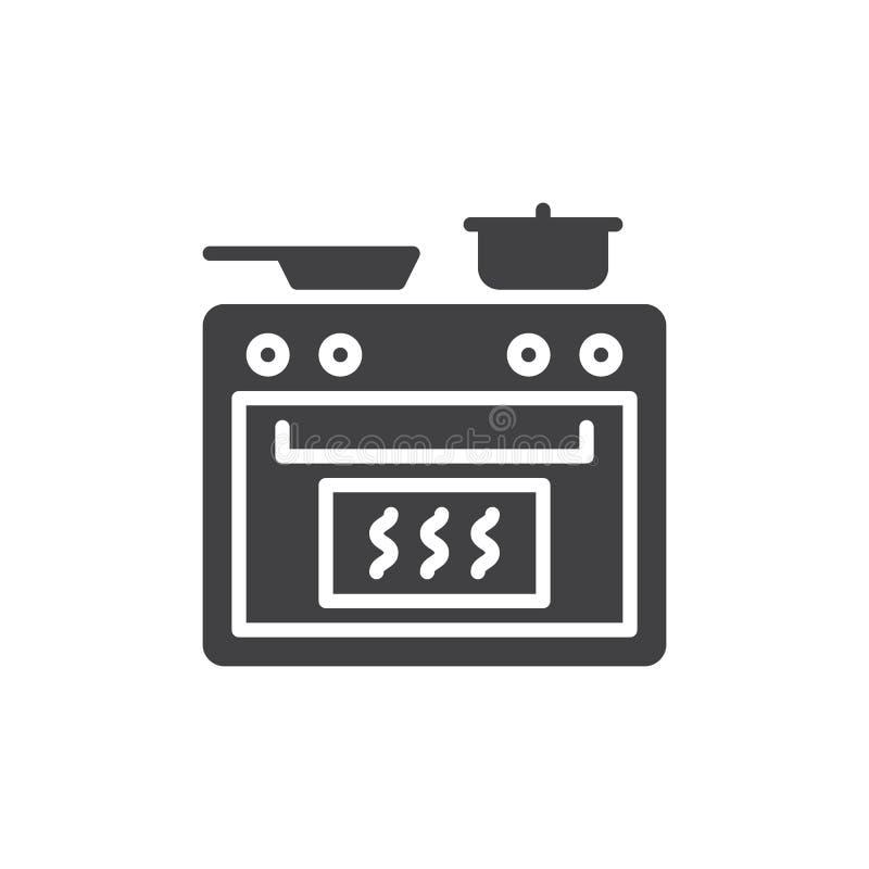 Vektor för symbol för matlagningugn, fyllt plant tecken, fast pictogram som isoleras på vit royaltyfri illustrationer
