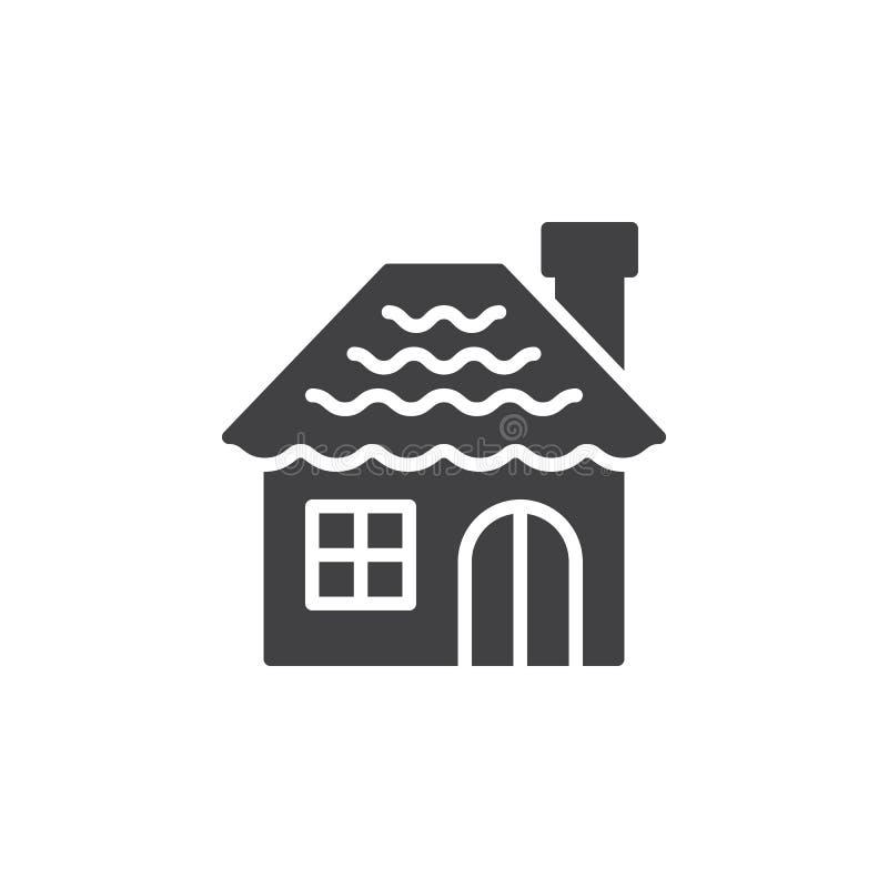 Vektor för symbol för pepparkakahus, fyllt plant tecken, fast pictogram vektor illustrationer
