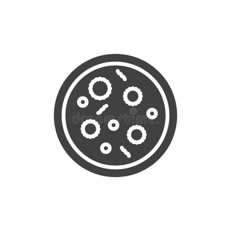 Vektor för symbol för Petri maträtt, fyllt plant tecken, fast pictogram som isoleras på vit vektor illustrationer