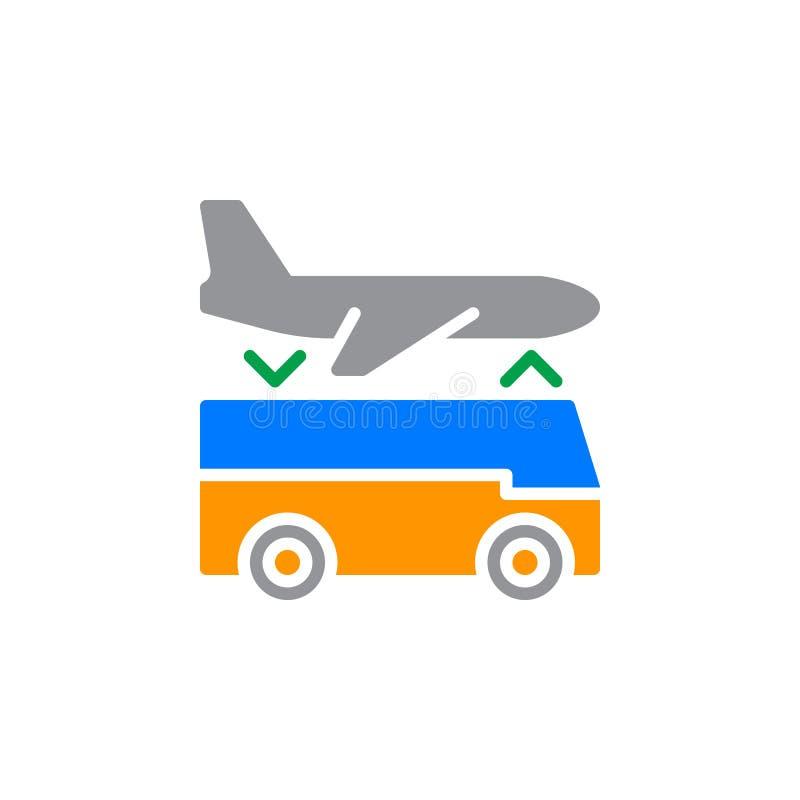 Vektor för symbol för service för överföring för flygplatsanslutning, fyllt plant tecken, fast färgrik pictogram som isoleras på  royaltyfri illustrationer