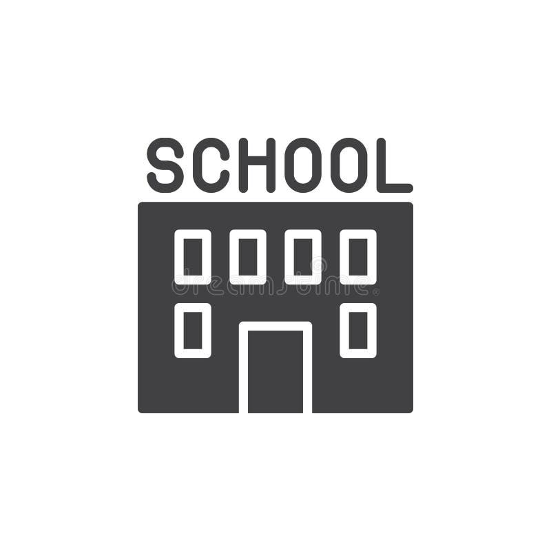 Vektor för symbol för skolabyggnad, fyllt plant tecken, fast pictogram som isoleras på vit royaltyfri illustrationer