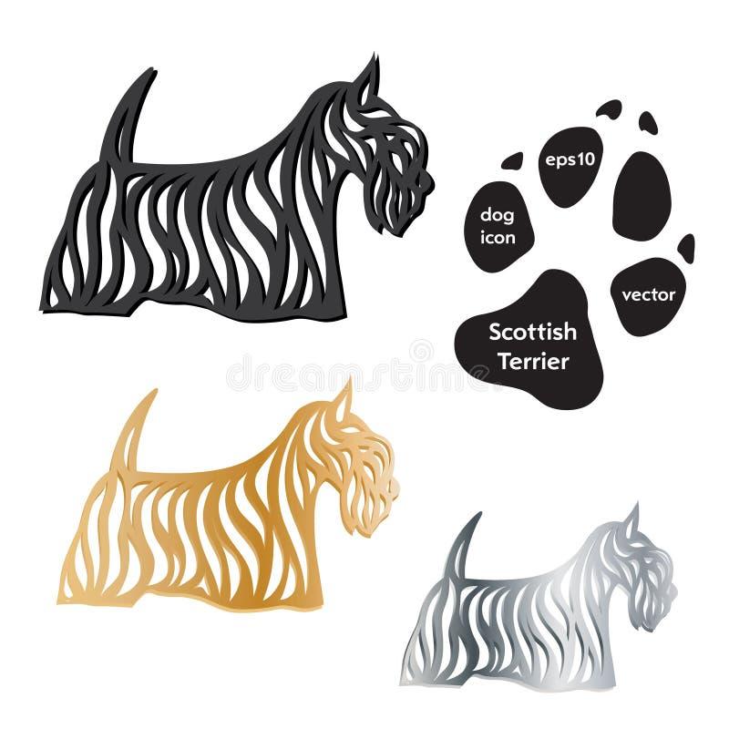 Vektor för symbol för skotteTerrier hund på vit vektor illustrationer