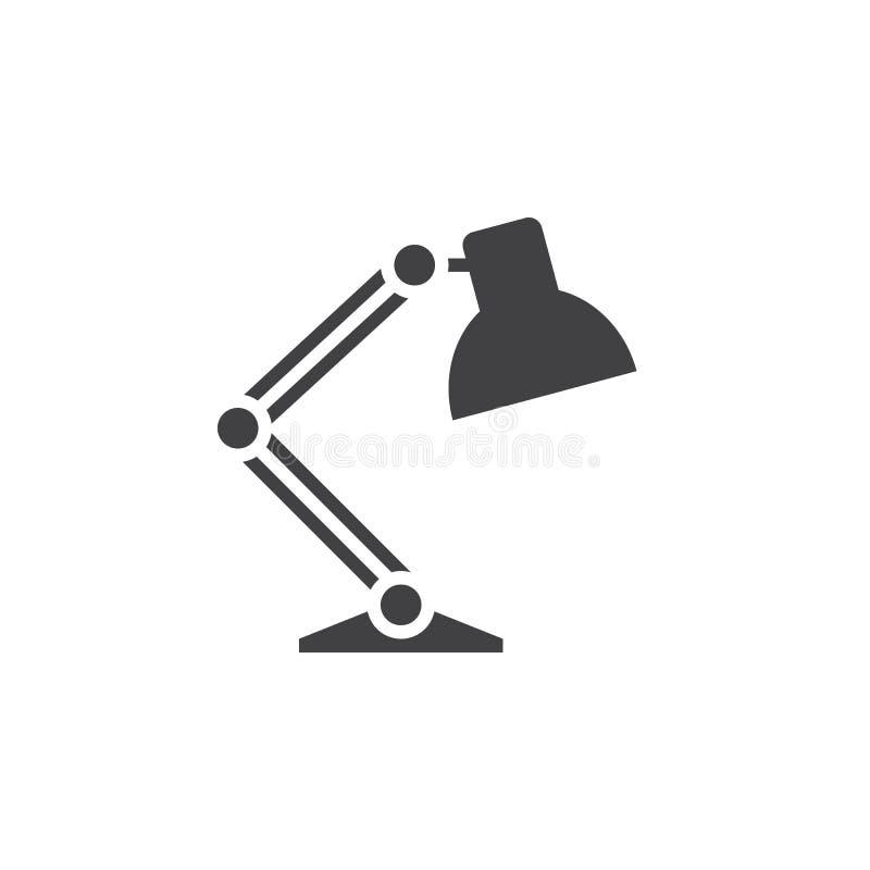 Vektor för symbol för skrivbordlampa, fast logo, pictogram som isoleras på vit, vektor illustrationer