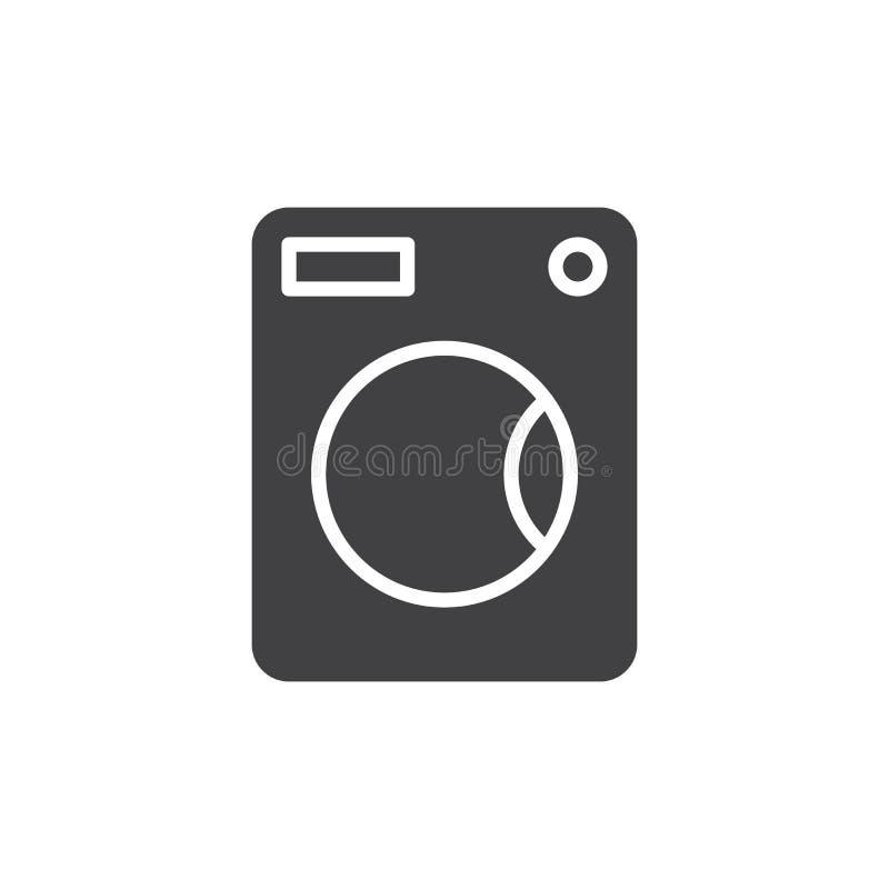 Vektor för symbol för tvagningmaskin, fyllt plant tecken, fast pictogram som isoleras på vit vektor illustrationer