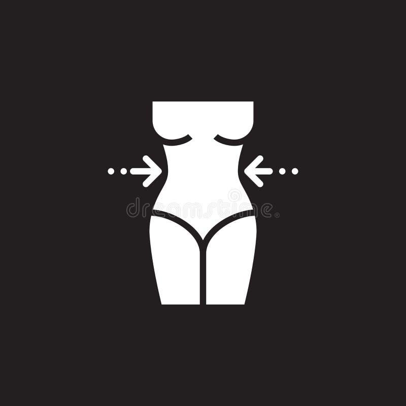 Vektor för symbol för viktförlust, tecken för lägenhet för heltäckande för midja för kvinna` s, pictogram som isoleras på svart royaltyfri illustrationer