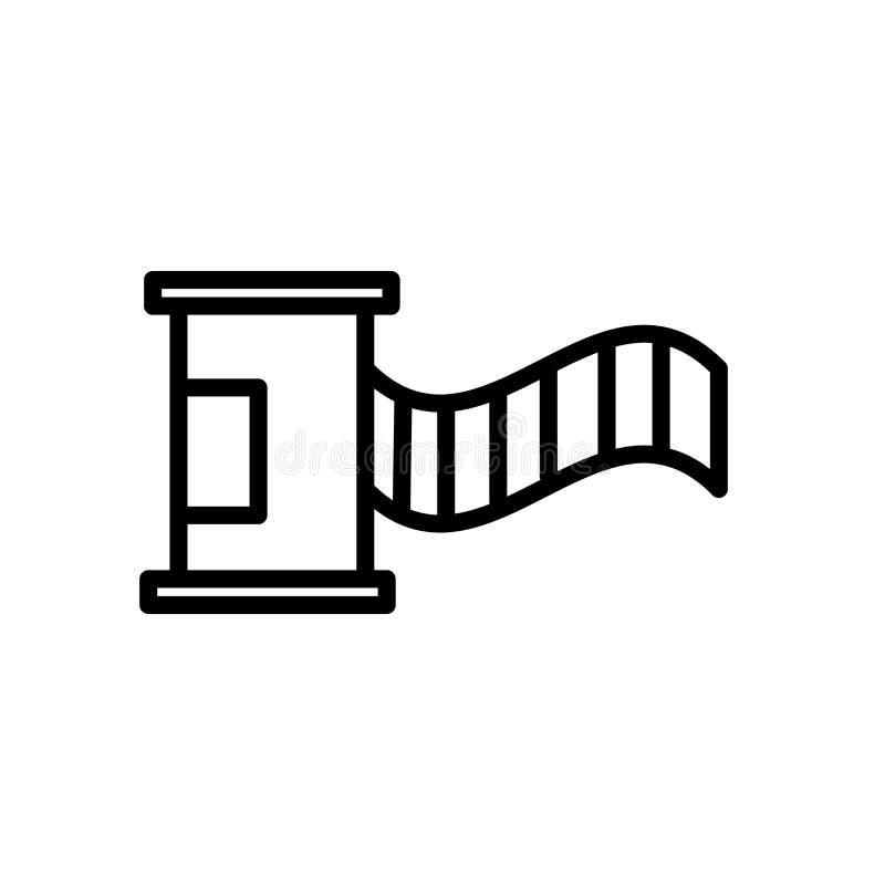 Vektor för symbol för filmrulle som isoleras på det vita bakgrunds-, för filmrulle tecknet, linje och översiktsbeståndsdelar i li stock illustrationer