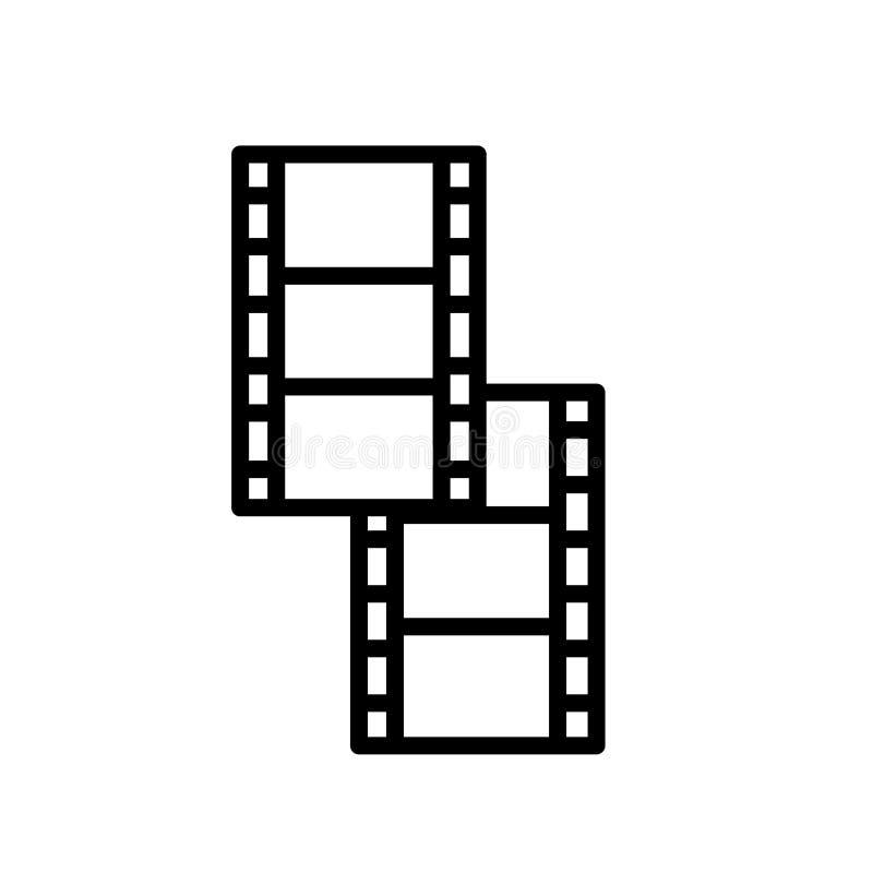 Vektor för symbol för filmrulle som isoleras på det vita bakgrunds-, för filmrulle tecknet, linje och översiktsbeståndsdelar i li vektor illustrationer