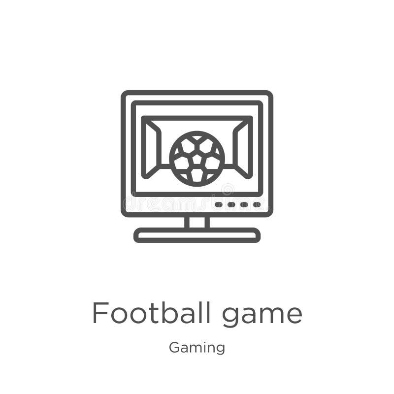 vektor för symbol för fotbolllek från att spela samlingen Tunn linje illustration för vektor för symbol för översikt för fotbolll royaltyfri illustrationer