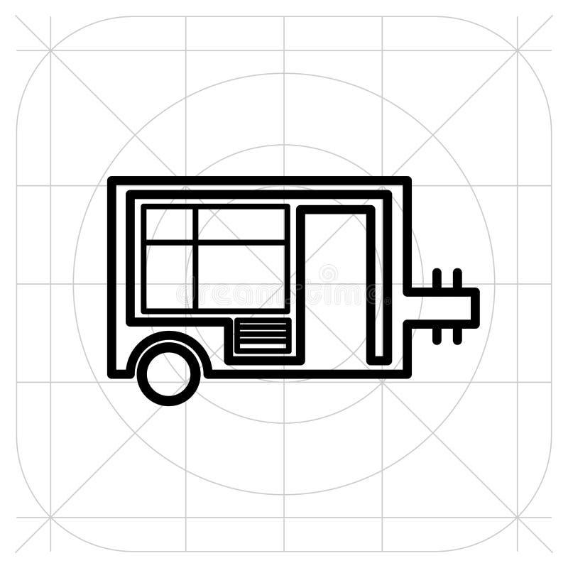 Vektor för symbol för husvagnsläphem, fyllt plant tecken, fast pictogram som isoleras på vit bakgrund stock illustrationer
