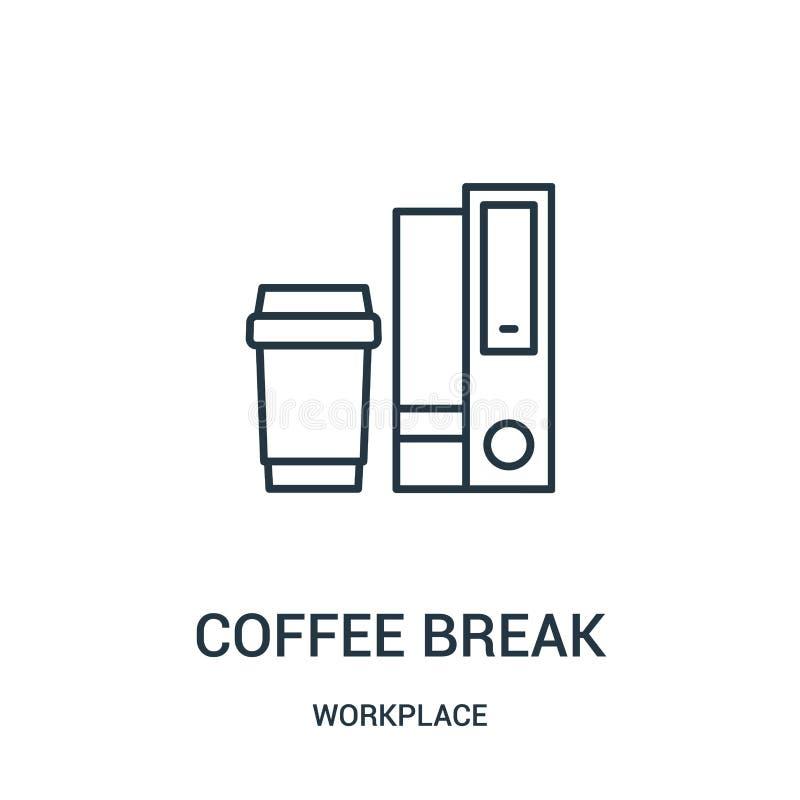 vektor för symbol för kaffeavbrott från arbetsplatssamling Tunn linje illustration för vektor för symbol för översikt för kaffeav vektor illustrationer