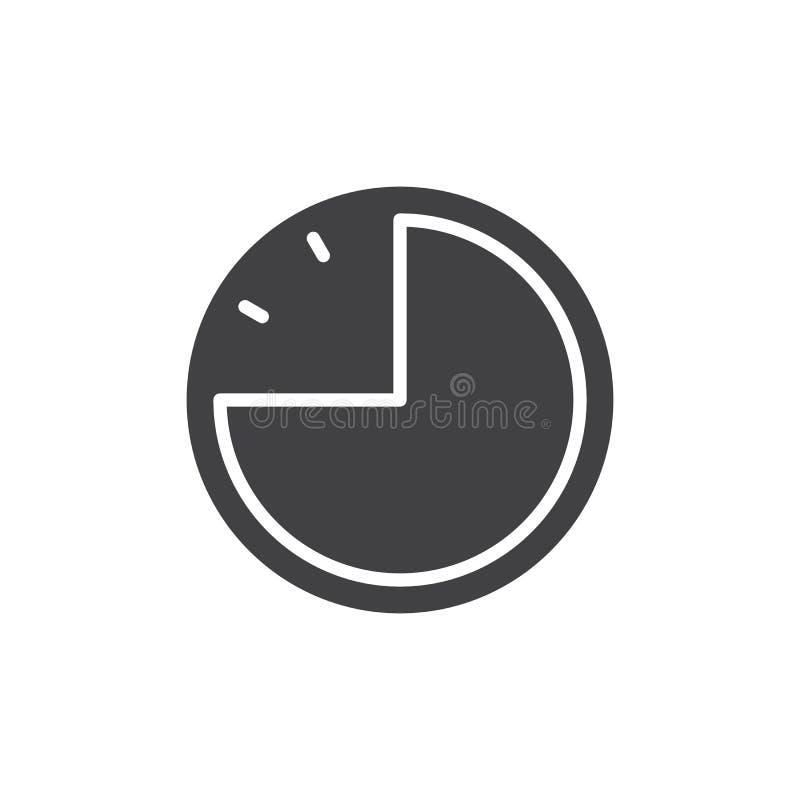 Vektor för symbol för klocka för pajdiagram stock illustrationer