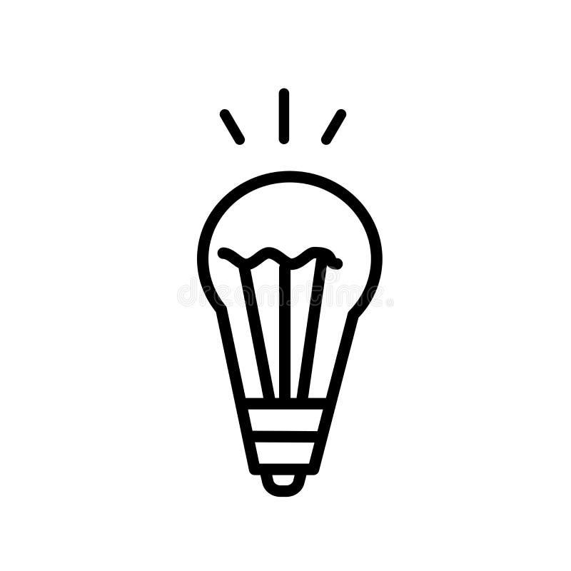 Vektor för symbol för ljus kula för idé som in isoleras på vit bakgrund, tecken för idéljuskula, linjärt symbol och slaglängddesi royaltyfri illustrationer