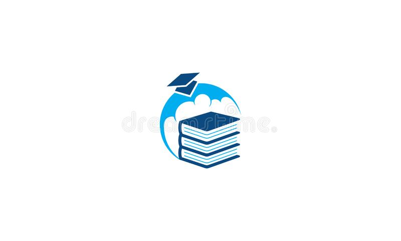 Vektor för symbol för logo för utbildningsavläggande av examenlock royaltyfri illustrationer