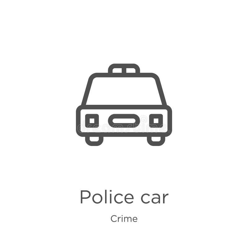 vektor för symbol för polisbil från brotts- samling Tunn linje illustration för vektor för symbol för översikt för polisbil Övers stock illustrationer
