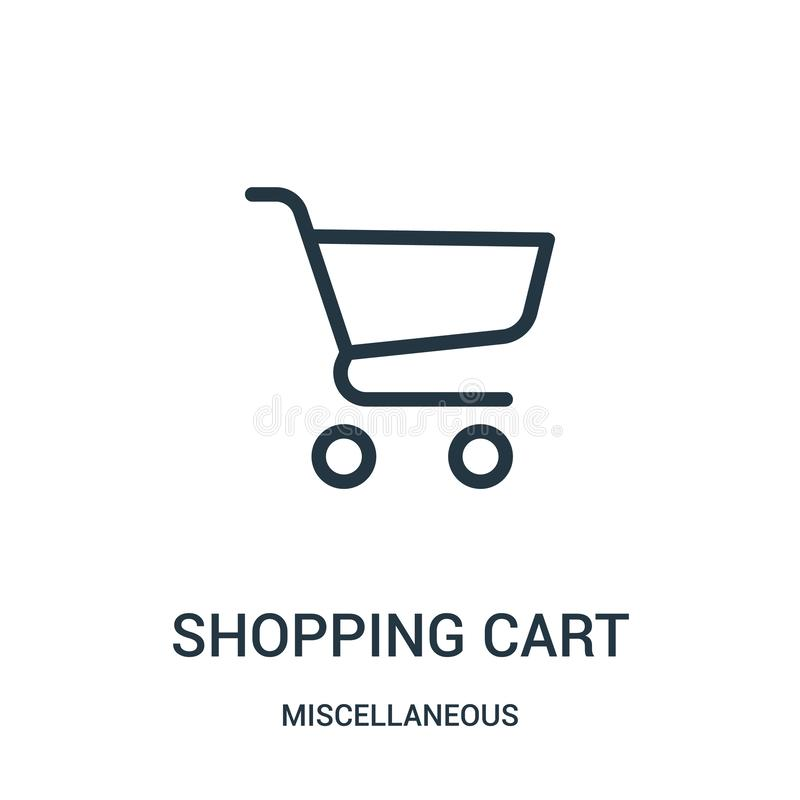 vektor för symbol för shoppingvagn från diverse samling Tunn linje illustration för vektor för symbol för översikt för shoppingva stock illustrationer