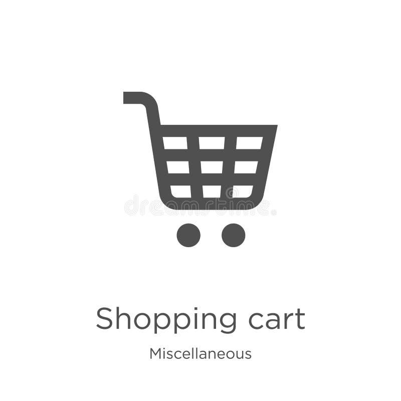 vektor för symbol för shoppingvagn från diverse samling Tunn linje illustration för vektor för symbol för översikt för shoppingva vektor illustrationer
