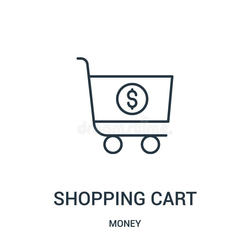 vektor för symbol för shoppingvagn från pengarsamling Tunn linje illustration f?r vektor f?r symbol f?r ?versikt f?r shoppingvagn vektor illustrationer
