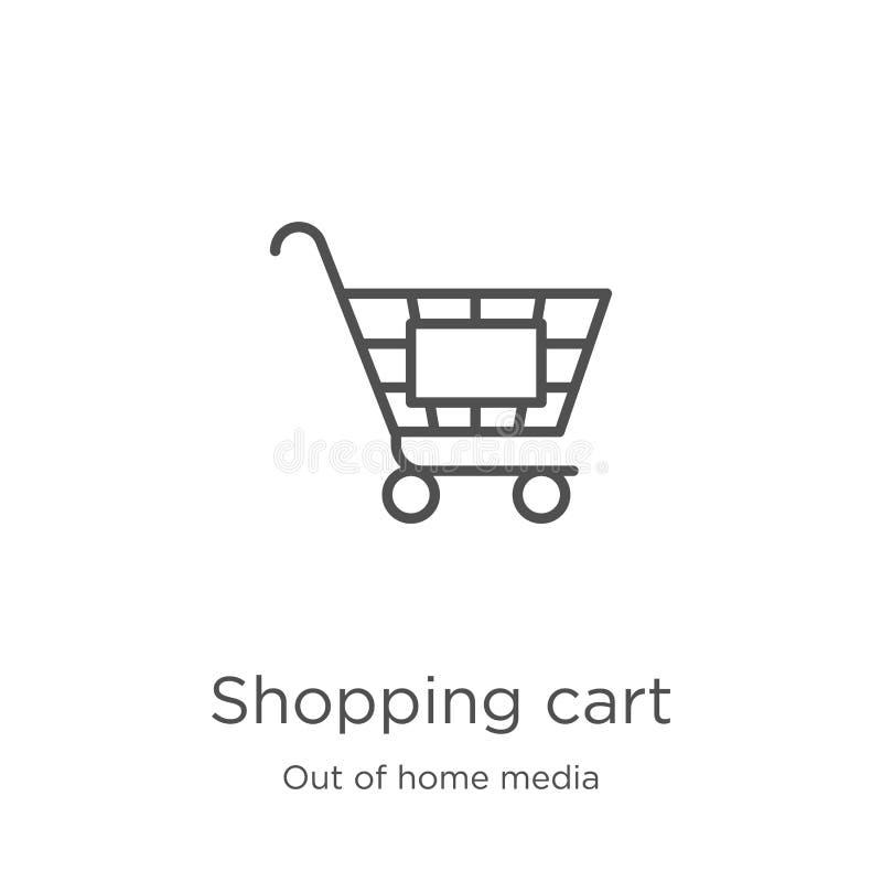 vektor för symbol för shoppingvagn från ut ur hem- massmediasamling Tunn linje illustration f?r vektor f?r symbol f?r ?versikt f? royaltyfri illustrationer