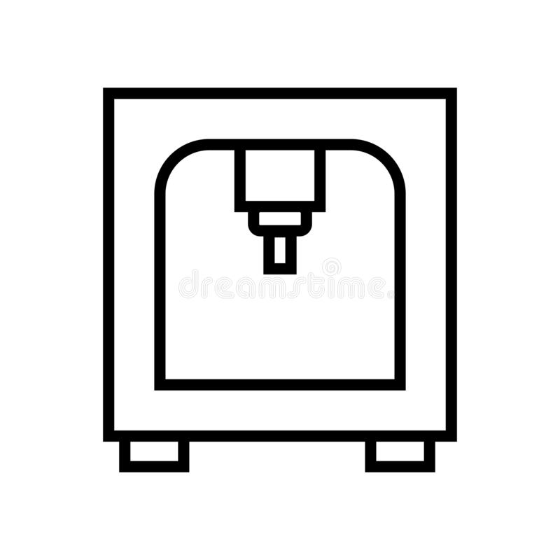 vektor för symbol för skrivare som 3d isoleras på det vita bakgrunds-, för skrivare 3d tecknet, linje och översiktsbeståndsdelar  royaltyfri illustrationer