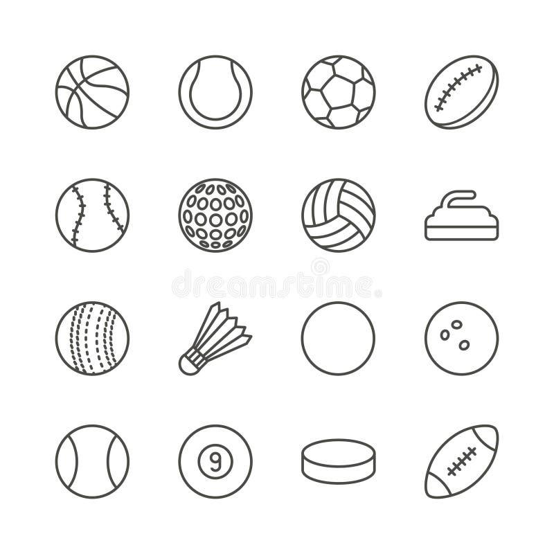 Vektor för symbol för sportbollar fastställd Footbal översikt, basket, rugby royaltyfri illustrationer