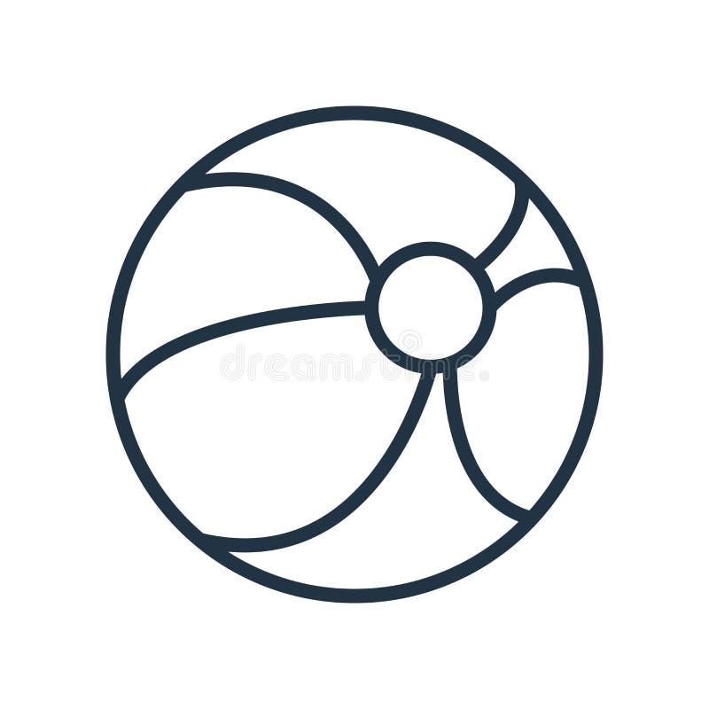 Vektor för symbol för strandboll som isoleras på vit bakgrund, tecken för strandboll stock illustrationer