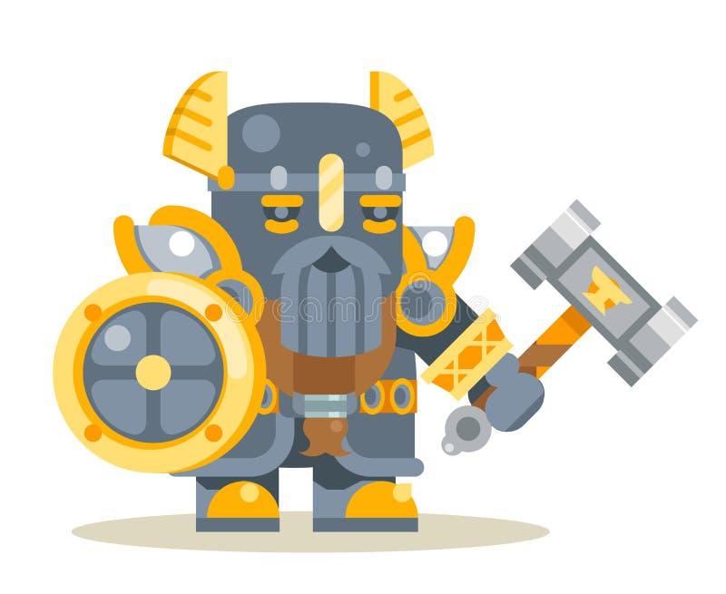 Vektor för symbol för vektor för tecken för design för lägenhet för tecknad film för dvärg- för krigareförsvararefantasi för RPG  royaltyfri illustrationer