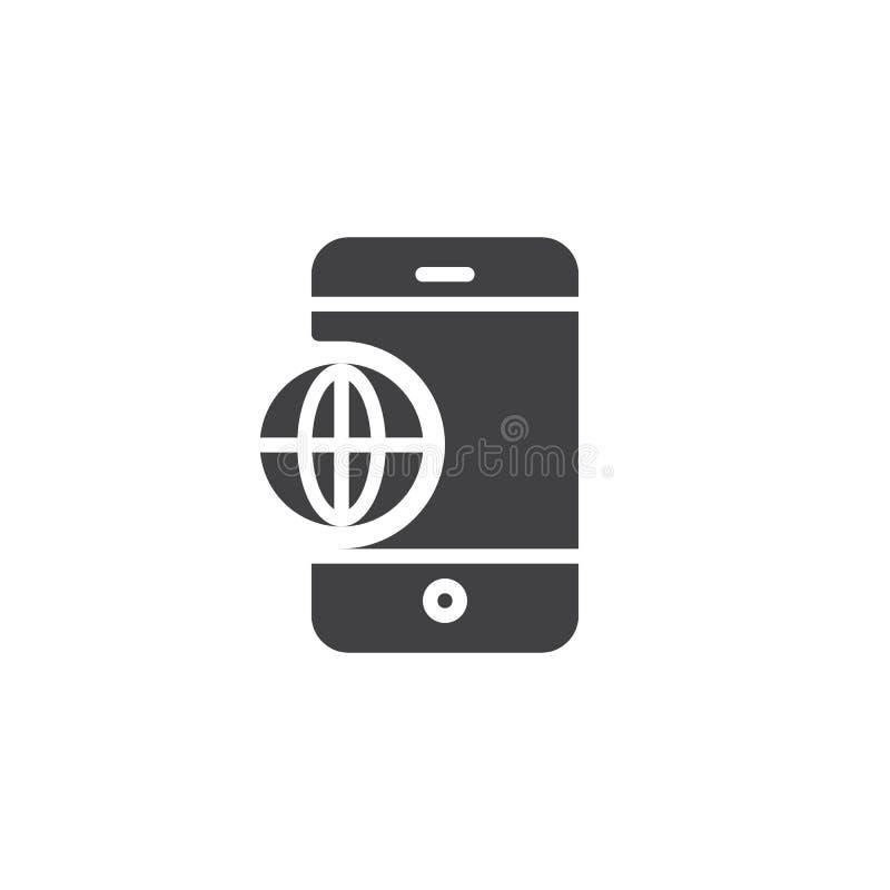 Vektor för symbol för telefonvärldsjordklot stock illustrationer