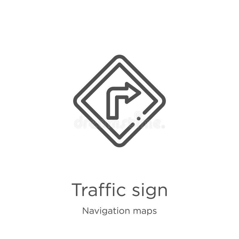 vektor för symbol för trafiktecken från navigeringöversiktssamling Tunn linje illustration för vektor för symbol för översikt för vektor illustrationer