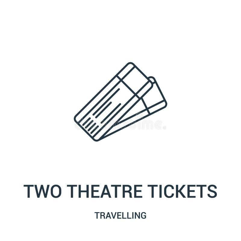 vektor för symbol för två teaterbiljetter från att resa samlingen Tunn linje två illustration för vektor för symbol för översikt  royaltyfri illustrationer