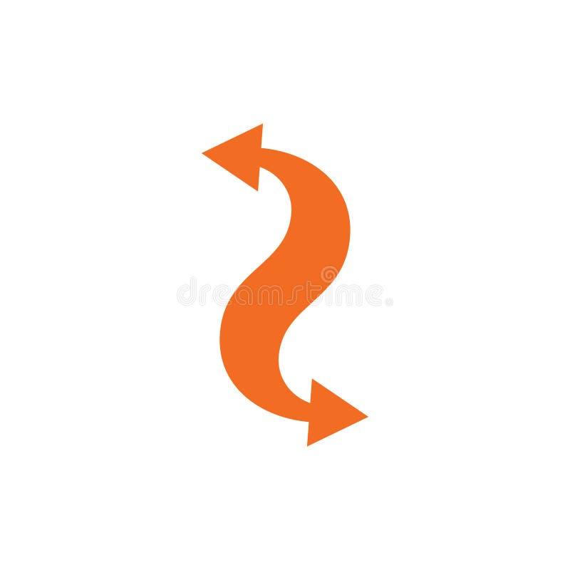 Vektor för symbol för utbyte för två pilkurvor royaltyfri illustrationer