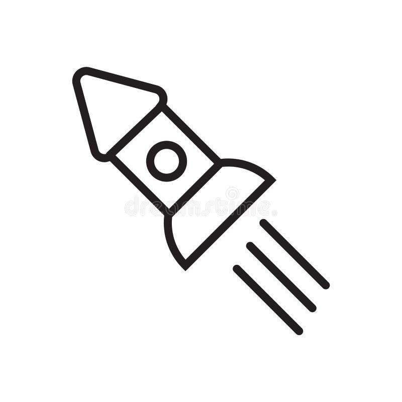 Vektor för symbol för utrymmeskepp som isoleras på vit bakgrund, tecken för utrymmeskepp stock illustrationer