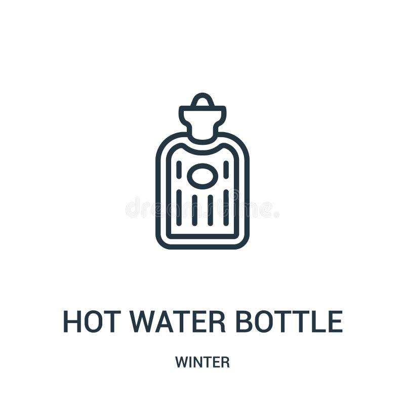 vektor för symbol för varmvattenflaska från vintersamling Tunn linje illustration för vektor för symbol för översikt för varmvatt vektor illustrationer