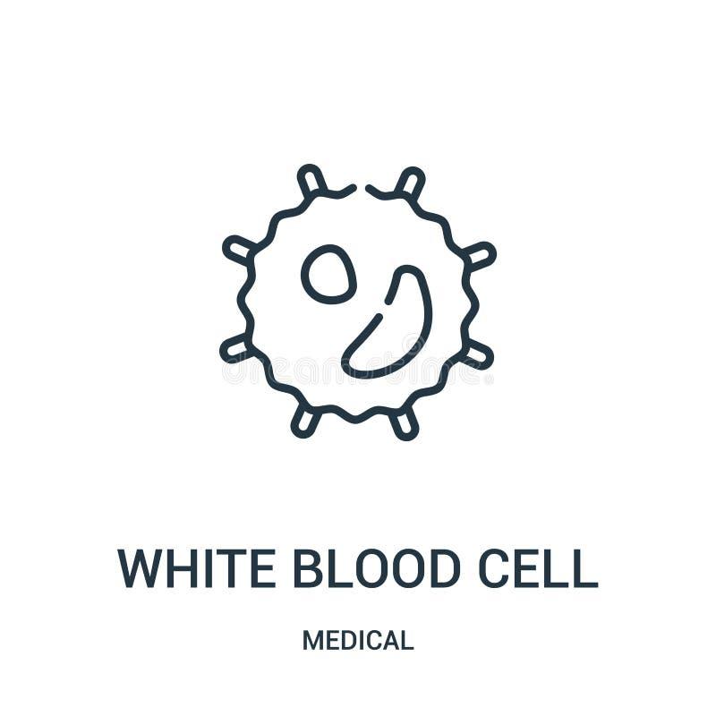 vektor för symbol för vit blodcell från medicinsk samling Tunn linje illustration för vektor för symbol för översikt för vit blod royaltyfri illustrationer