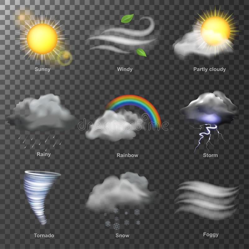 Vektor för symboler 3d för väder realistisk ställ in solen, molnet, regnbågen, stormvind royaltyfri illustrationer