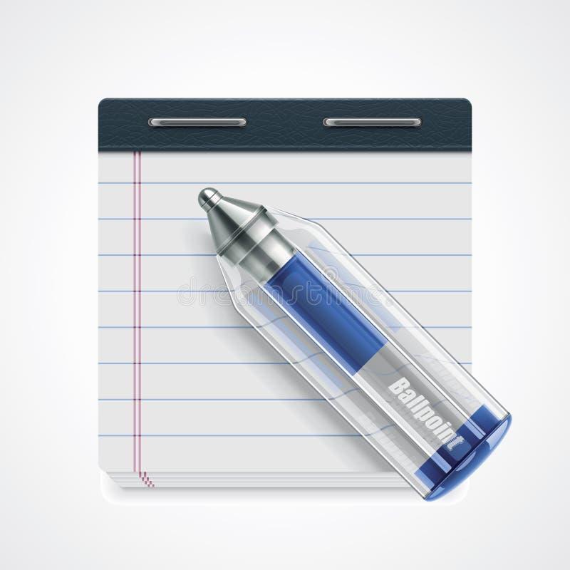 vektor för symbolsanteckningsbokpenna stock illustrationer