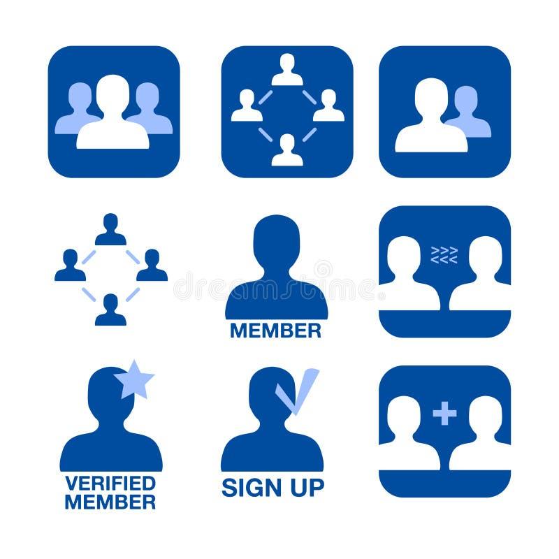 vektor för symbolsmedlemskapnätverk stock illustrationer