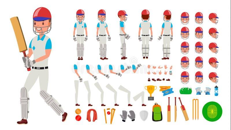 Vektor för syrsaspelareman Man för sportsyrsaspelare Kricketspelare animerad teckenskapelseuppsättning Full längd, framdel royaltyfri illustrationer