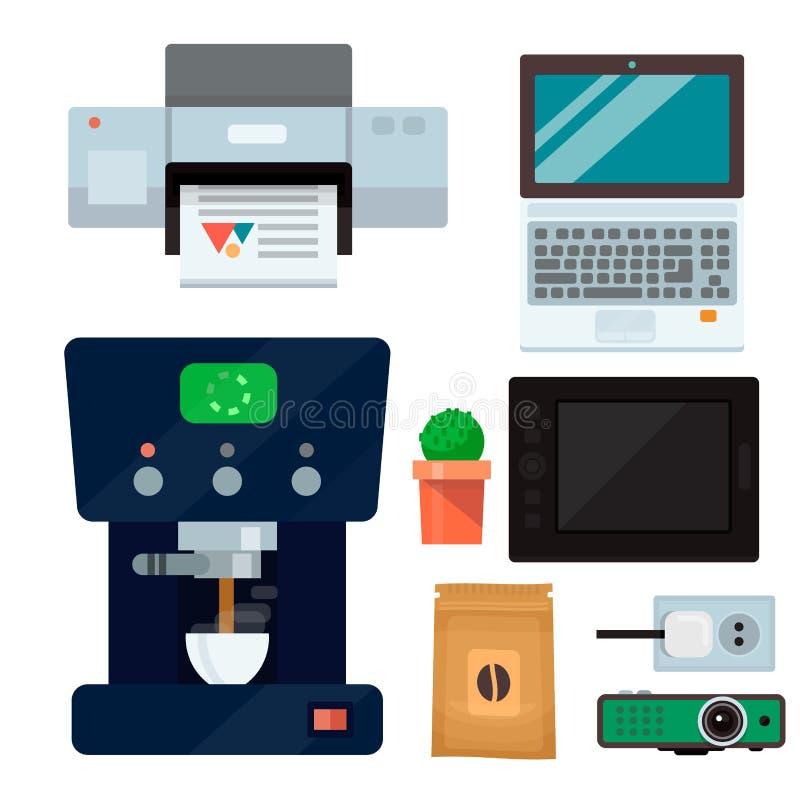 Vektor för tangentbord för skrivare för bildskärm för bärbar dator för apparat för kommunikation för arbetsplats för grejer för t vektor illustrationer