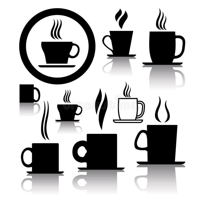 vektor för tea för symboler för symboler för kaffekopp vektor illustrationer