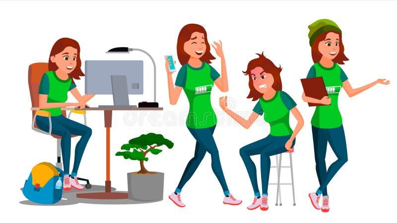 Vektor för tecken för affärskvinna Den unga kvinnlign i olikt poserar Tonårig kontorist In Office Clothes Formgivare chef royaltyfri illustrationer